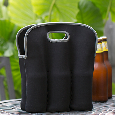 "TOPPERS™ Six Beer Bottle Neoprene Tote - Keep your favorite brew insulated on-the-go with this convenient neoprene tote. Holds six 12 -20oz bottles or cans. Features soft grip handles, expandable pockets and is machine washable.  Tote measures 13"" x 12"" x ½""."