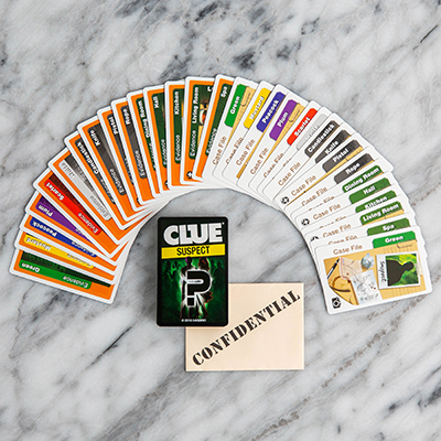 CLUE<sup>&reg;</sup> Suspect Card Game - Determine the suspect, weapon and location of the crime with this fun card game for the whole family.  The first player to solve the crime wins!  Includes 2 decks of cards, 1 confidential envelope and illustrated instructions. Ages 8 and up. 3 - 4 players.