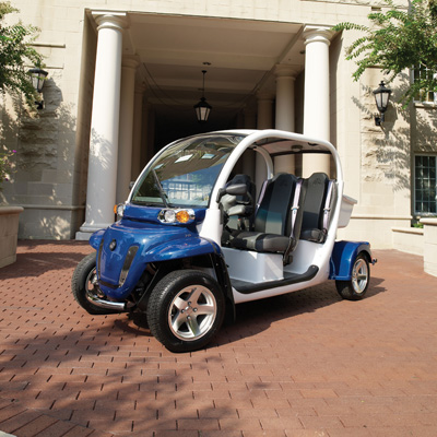 GEM<sup>®</sup> e4 Electric Car - This vehicle is perfect for visiting family and friends or just recreational driving. Features seating for 4 people, a sunroof and six 12-volt flooded electrolyte batteries for a range of up to 30 miles on a charge. It's economic and environmentally friendly!