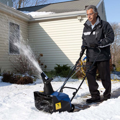 "SNOW JOE<sup>&reg;</sup> Electric Snow Thrower - Keep your driveways and walkways clear in the wintertime.  No gas, oil or tune-ups needed for this powerful 13.5 amp motor that cuts a path up to 18"" wide and 10"" deep and throws snow up to 20 ft. away. Features adjustable chute and directional control."