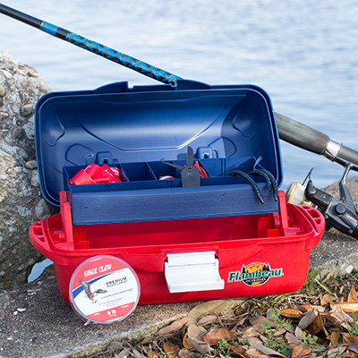 FLAMBEAU OUTDOORS<sup>®</sup> Eagle Claw<sup>®</sup> Go Fish! Extreme Value Tackle Kit - A great tackle kit for the beginner to intermediate angler.  Tray tackle box includes a variety of hooks, rigs, sinkers and tackle to target a range of freshwater species.